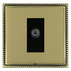Hamilton Linea-Georgian CFX Antique Brass/Satin Brass 1 Gang Digital Satellite with Black Insert