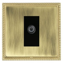 Hamilton Linea-Georgian CFX Polished Brass/Antique Brass 1 Gang Digital Satellite with Black Insert