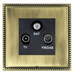 Hamilton Linea-Georgian CFX Antique Brass/Antique Brass TV+FM+SAT (DAB Compatible) with Black Insert