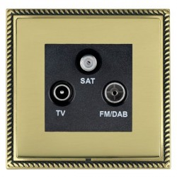 Hamilton Linea-Georgian CFX Antique Brass/Polished Brass TV+FM+SAT (DAB Compatible) with Black Insert