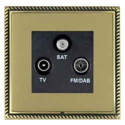 Hamilton Linea-Georgian CFX Antique Brass/Satin Brass TV+FM+SAT (DAB Compatible) with Black Insert