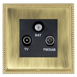Hamilton Linea-Georgian CFX Polished Brass/Antique Brass TV+FM+SAT (DAB Compatible) with Black Insert