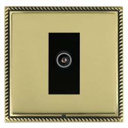 Hamilton Linea-Georgian CFX Antique Brass/Polished Brass 1 Gang TV (Female) with Black Insert