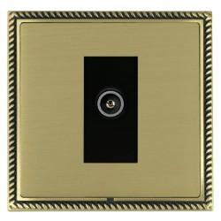 Hamilton Linea-Georgian CFX Antique Brass/Satin Brass 1 Gang TV (Female) with Black Insert