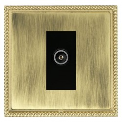 Hamilton Linea-Georgian CFX Polished Brass/Antique Brass 1 Gang TV (Female) with Black Insert