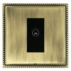 Hamilton Linea-Georgian CFX Antique Brass/Antique Brass 1 Gang TV (Male) with Black Insert