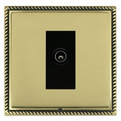 Hamilton Linea-Georgian CFX Antique Brass/Polished Brass 1 Gang TV (Male) with Black Insert