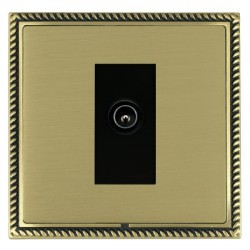 Hamilton Linea-Georgian CFX Antique Brass/Satin Brass 1 Gang TV (Male) with Black Insert
