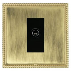 Hamilton Linea-Georgian CFX Polished Brass/Antique Brass 1 Gang TV (Male) with Black Insert