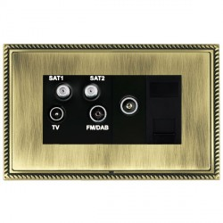 Hamilton Linea-Georgian CFX Antique Brass/Antique Brass TV+FM+SAT+SAT (DAB Compatible)+TV+TCS with Black Insert