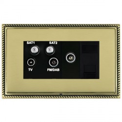 Hamilton Linea-Georgian CFX Antique Brass/Polished Brass TV+FM+SAT+SAT (DAB Compatible)+TV+TCS with Black Insert