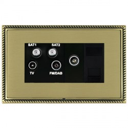 Hamilton Linea-Georgian CFX Antique Brass/Satin Brass TV+FM+SAT+SAT (DAB Compatible)+TV+TCS with Black Insert