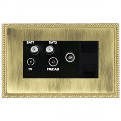Hamilton Linea-Georgian CFX Polished Brass/Antique Brass TV+FM+SAT+SAT (DAB Compatible)+TV+TCS with Black Insert