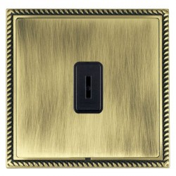 Hamilton Linea-Georgian CFX Antique Brass/Antique Brass 1 Gang 2 Way Key Switch with Black Insert