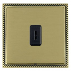 Hamilton Linea-Georgian CFX Antique Brass/Satin Brass 1 Gang 2 Way Key Switch with Black Insert