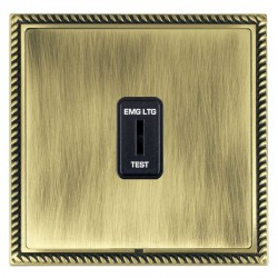 Hamilton Linea-Georgian CFX Antique Brass/Antique Brass 1 Gang 2 Way Key Switch 'EMG LTG TEST' with Black Insert