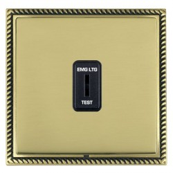 Hamilton Linea-Georgian CFX Antique Brass/Polished Brass 1 Gang 2 Way Key Switch 'EMG LTG TEST' with Black Insert