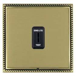 Hamilton Linea-Georgian CFX Antique Brass/Satin Brass 1 Gang 2 Way Key Switch 'EMG LTG TEST' with Black Insert