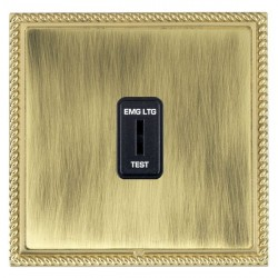 Hamilton Linea-Georgian CFX Polished Brass/Antique Brass 1 Gang 2 Way Key Switch 'EMG LTG TEST' with Black Insert