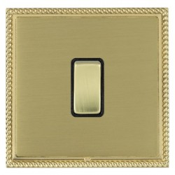Hamilton Linea-Georgian CFX Polished Brass/Satin Brass 1 Gang 10amp 2 Way Rocker with Black Insert