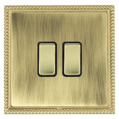 Linea-Georgian CFX Polished Brass/Antique Brass 2 Gang 10amp 2 Way Rocker