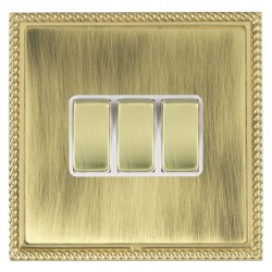 Hamilton Linea-Georgian CFX Polished Brass/Antique Brass 3 Gang 10amp 2 Way Rocker with White Insert