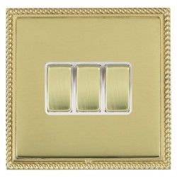 Hamilton Linea-Georgian CFX Polished Brass/Polished Brass 3 Gang 10amp 2 Way Rocker with White Insert