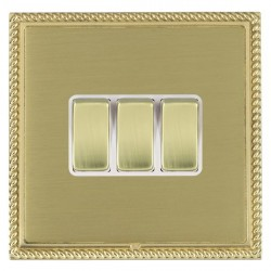 Hamilton Linea-Georgian CFX Polished Brass/Satin Brass 3 Gang 10amp 2 Way Rocker with White Insert