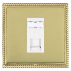 Hamilton Linea-Georgian CFX Polished Brass/Polished Brass 1 Gang RJ45 Outlet Cat 5e Unshielded with White Insert