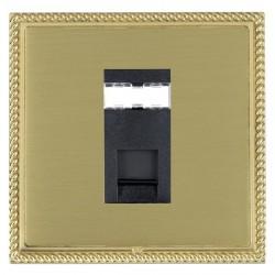 Hamilton Linea-Georgian CFX Polished Brass/Satin Brass 1 Gang RJ45 Outlet Cat 5e Unshielded with Black Insert