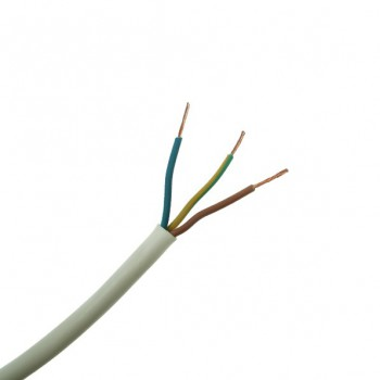 10 Metre Length of 1.00mm 3 Core White Heat Resistant Cable