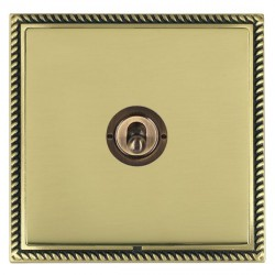 Hamilton Linea-Georgian CFX Antique Brass/Polished Brass 1 Gang 2 Way Dolly with Antique Brass Insert