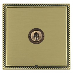 Hamilton Linea-Georgian CFX Antique Brass/Satin Brass 1 Gang 2 Way Dolly with Antique Brass Insert