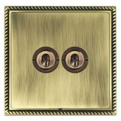 Hamilton Linea-Georgian CFX Antique Brass/Antique Brass 2 Gang 2 Way Dolly with Antique Brass Insert