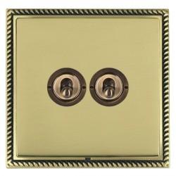 Hamilton Linea-Georgian CFX Antique Brass/Polished Brass 2 Gang 2 Way Dolly with Antique Brass Insert
