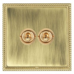 Hamilton Linea-Georgian CFX Polished Brass/Antique Brass 2 Gang 2 Way Dolly with Polished Brass Insert