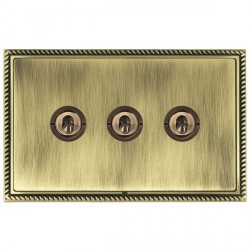 Hamilton Linea-Georgian CFX Antique Brass/Antique Brass 3 Gang 2 Way Dolly with Antique Brass Insert