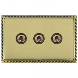 Hamilton Linea-Georgian CFX Antique Brass/Polished Brass 3 Gang 2 Way Dolly with Antique Brass Insert