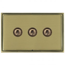 Hamilton Linea-Georgian CFX Antique Brass/Satin Brass 3 Gang 2 Way Dolly with Antique Brass Insert