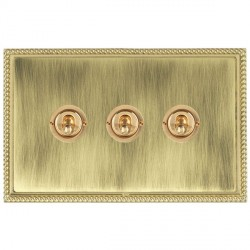 Hamilton Linea-Georgian CFX Polished Brass/Antique Brass 3 Gang 2 Way Dolly with Polished Brass Insert