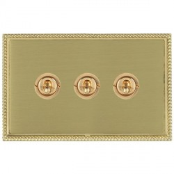 Hamilton Linea-Georgian CFX Polished Brass/Satin Brass 3 Gang 2 Way Dolly with Polished Brass Insert