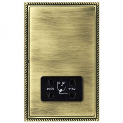 Hamilton Linea-Georgian CFX Antique Brass/Antique Brass Shaver Socket Dual Voltage with Black Insert