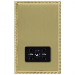 Hamilton Linea-Georgian CFX Polished Brass/Satin Brass Shaver Socket Dual Voltage with Black Insert