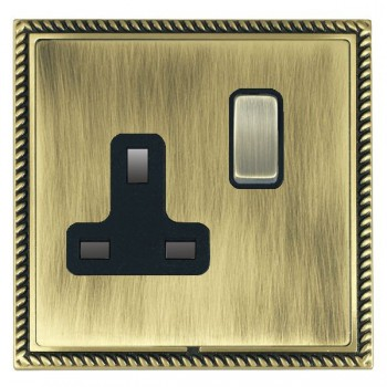 Hamilton Linea-Georgian CFX Antique Brass/Antique Brass 1 Gang 13A Switched Socket - Double Pole with Black Insert