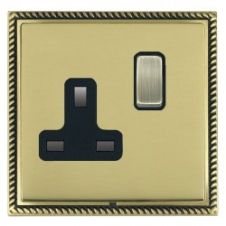 Hamilton Linea-Georgian CFX Antique Brass/Polished Brass 1 Gang 13A Switched Socket - Double Pole with Black Insert