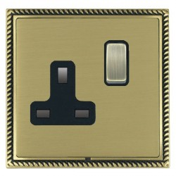 Hamilton Linea-Georgian CFX Antique Brass/Satin Brass 1 Gang 13A Switched Socket - Double Pole with Black Insert
