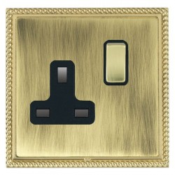 Hamilton Linea-Georgian CFX Polished Brass/Antique Brass 1 Gang 13A Switched Socket - Double Pole with Black Insert