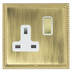 Hamilton Linea-Georgian CFX Polished Brass/Antique Brass 1 Gang 13A Switched Socket - Double Pole with White Insert