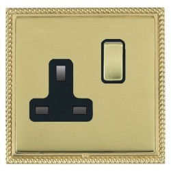 Hamilton Linea-Georgian CFX Polished Brass/Polished Brass 1 Gang 13A Switched Socket - Double Pole with Black Insert