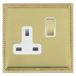 Hamilton Linea-Georgian CFX Polished Brass/Polished Brass 1 Gang 13A Switched Socket - Double Pole with White Insert